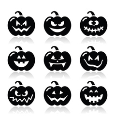 Halloween pumkin icons set vector