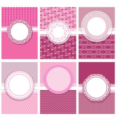 Set cards with round frames 380 vector