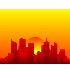 City skyline and sun vector