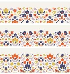 Three ornamental folk tulips horizontal seamless vector