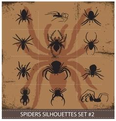 Halloween spiders silhouettes symbols set vector