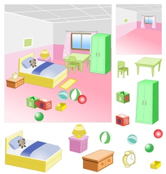 Bedroom - children room with a friendly atmosphe vector