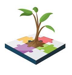 Tree jigsaw business color growth vector