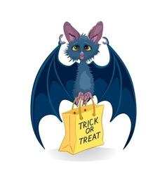 Cartoon bat with halloween bag trick or treat vector