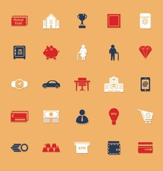Personal financial flat icons with shadow vector