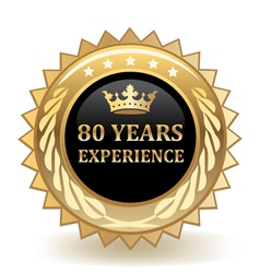 Eighty years experience badge vector