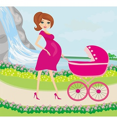 Beautiful pregnant woman pushing a stroller with vector