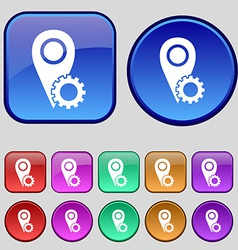 Map pointer setting icon sign a set of twelve vector
