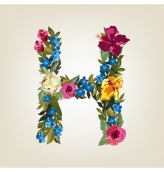 H letter flower capital alphabet colorful font vector