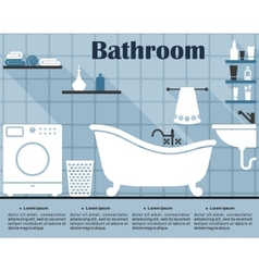 Flat blue bathroom interior with long shadows vector