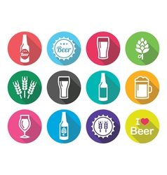 Beer flat design round icons set - bottle glass vector