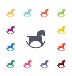 Horse toy flat icons set vector