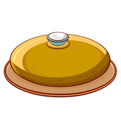 Bread round loaf with salt on a platter vector