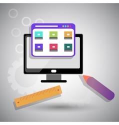 Web design with bright pictures vector