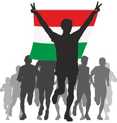 Athlete with the hungary flag at the finish vector