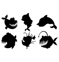 Six silhouettes of fishes with big fangs vector