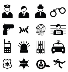 Police icons set vector
