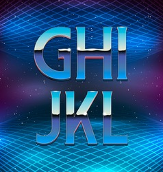 Thin chrome alphabet in 80s retro futurism style vector