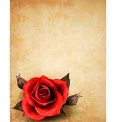 Big red rose on old paper background vector