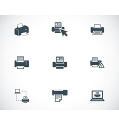 Balck printer icons set vector