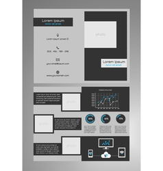 Business bifold brochure template dark grey vector