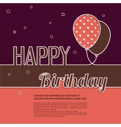 Birthday wish with balloons and text vector