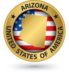 Arizona state gold label with state map vector