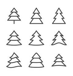 Set of nine xmas trees thin line vector