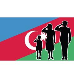 Azerbaijan soldier family salute vector