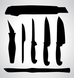 Set of knifes silhouettes vector