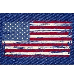 Grunge american flag on jeans background vector