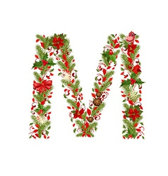 Christmas floral tree letter m vector