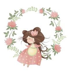 Cute girl in flower wreath vector