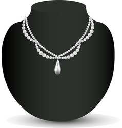 Womans necklace with pearls vector