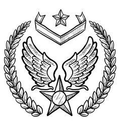Doodle us military wreath airforce vector