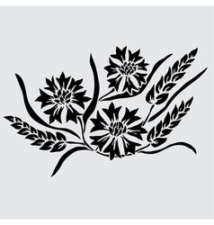 Decorative cornflowers and wheat vector