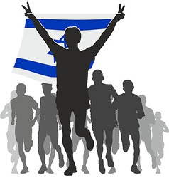 Athlete with the israel flag at the finish vector