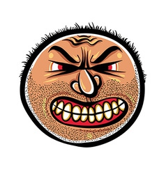 Angry cartoon face with stubble vector