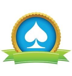Gold spades card logo vector