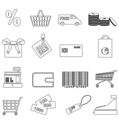 Shopping and store outline black icons eps10 vector