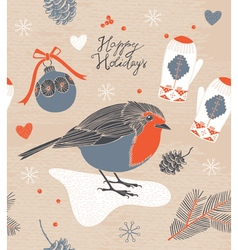 Christmas decoration bird and berries vector