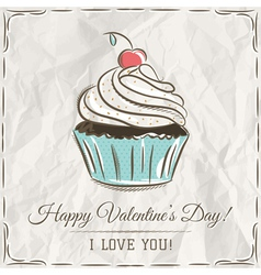 Valentine card with cupcake and wishes text vector
