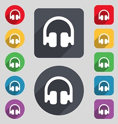 Headphones earphones icon sign a set of 12 colored vector