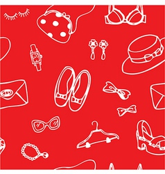 Woman accessories cartoon seamless background vector