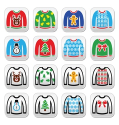 Ugly christmas sweater on jumper buttons set vector