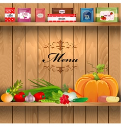 Vegetables wooden shelves vector