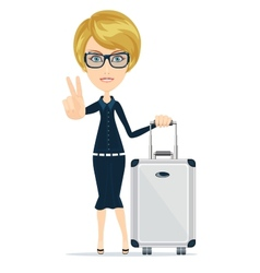 Cartoon woman with luggage vector