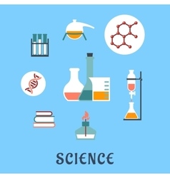 Colored flat science and medical icons vector