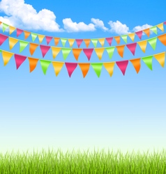 Grass lawn with bright buntings clouds on blue sky vector