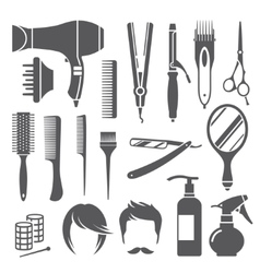 Hairdressing equipment symbols vector